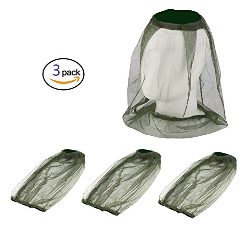 3Pack Mosquito Head Net Face Netting for Bugs Mosquito Repellent Clothing Mosquito Net for Hat for Outdoor Camping,Hiking,Traveling,Fishing Beekeeping and Gardening