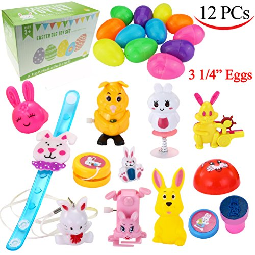 12 PCs Toys Filled Easter Eggs, 3.25