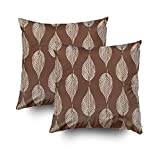 EMMTEEY Home Decor Throw Pillowcase for Sofa Cushion Cover,Beech Leaf Chalk Print Taupe tan and Cream Decorative Square Accent Zippered and Double Sided Printing Pillow Case Covers 18X18Inch,Set of 2