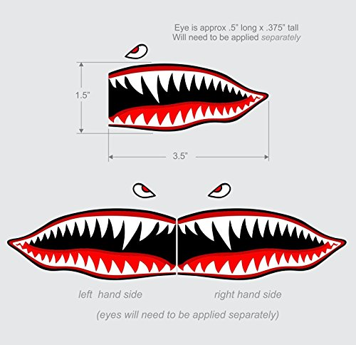 Decals Flying Tigers - Flying Tigers Shark Teeth Decal Sticker 1.5