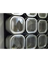 Access Culinarian II Magnetic Spice Rack - 48 Bravada Square Clear Lid Magnetic Spice Tins, Matte Black Steel Versa-Board... lowestprice