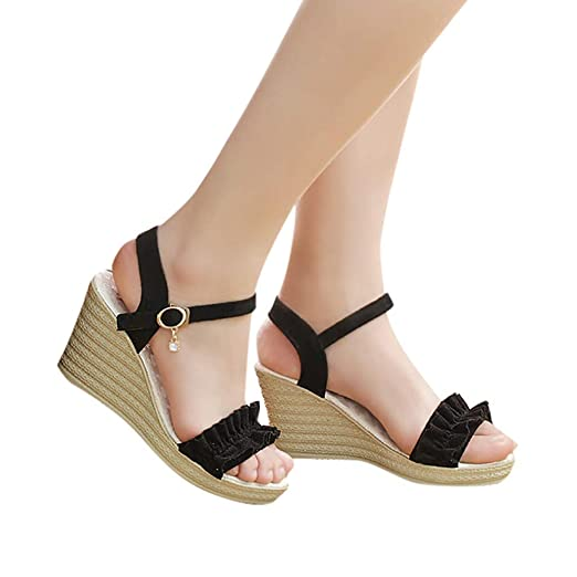 e7fd5f61957 Gyouanime High Platform Wedge Sandals Shoes Womens Buckle Strap Ruffles  Peep Toe Shoes Heel Sandals Black