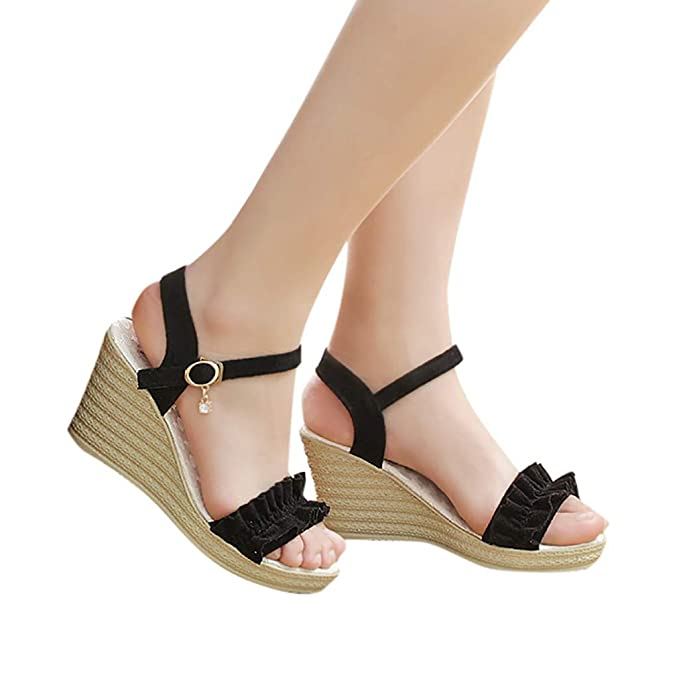 0f813ebc764 Women s Ankle Strap Buckle Wedge Platform Heeled Sandals Ruffles 8.5CM  Summer Dress Sandals Pump Shoes