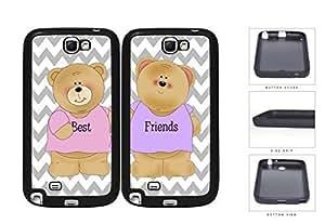 Best Friends Teddy Bear Chevron Set Rubber Silicone TPU Cell Phone Case Samsung Galaxy Note 2 II N7100 hjbrhga1544