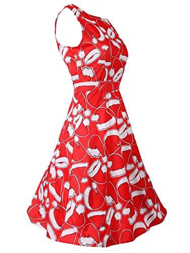 Donne Con Delle Girocollo Di Vestito Partito Da Rosso Maniche Epoca Nastro Natale 2 Charmma qgvft