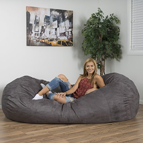 David Faux Suede 8 Feet Lounger Bean Bag (Charcoal) by Great Deal Furniture