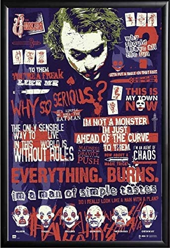 com the joker quotes poster framed black batman comic