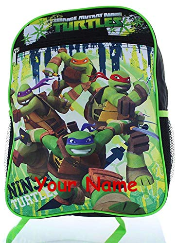 (Personalized Nickelodeon TMNT Teenage Mutant Ninja Turtles Characters Out of the Shadows Black and Blue Back to School Backpack Book Bag - 16)