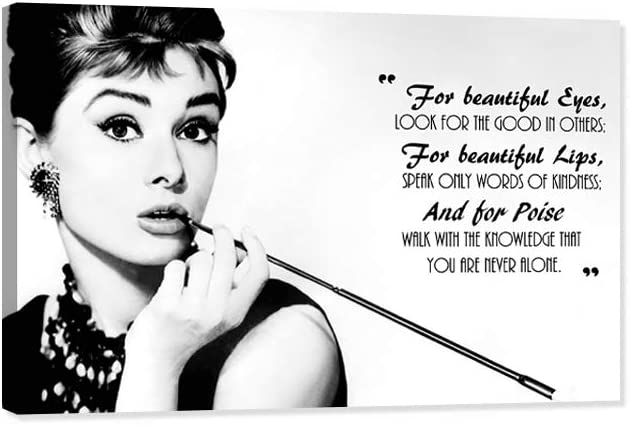Audrey Hepburn Canvas Wall Art, American Women Girls Canvas Painting Audrey Hepburn Classic Movies Framed Artwork for Home Wall Decor, American Celebrities for Womens Bedroom Decor (12
