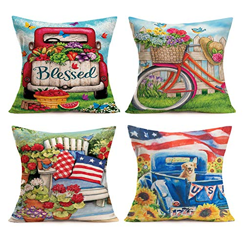 SmilyardIndependenceDay Throw Pillow Covers American Flag Red Truck with Sunflower Pillow Decorative Pillow Covers Cotton Linen Flower Pillow Case Home Decor 18x18 Inch Set of 4 (American Set)