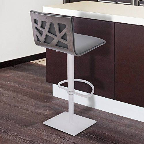 Armen Living LCCRBAGRBS Crystal Swivel Adjustable Barstool in Grey Faux Leather and Brushed Stainless Steel Finish