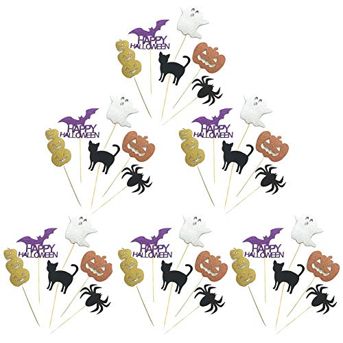 Yarssir 36 PCS Halloween Cupcake Toppers, Mini Cake Food Appetizer Cupcake Picks for Halloween Party Decorations Set, Happy Halloween(Multicolor 1)]()