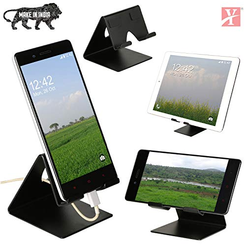 YT Mobile Phone Metal Stand/Holder for Smartphones and Tablet – Black Matt (Proudly Made in India)