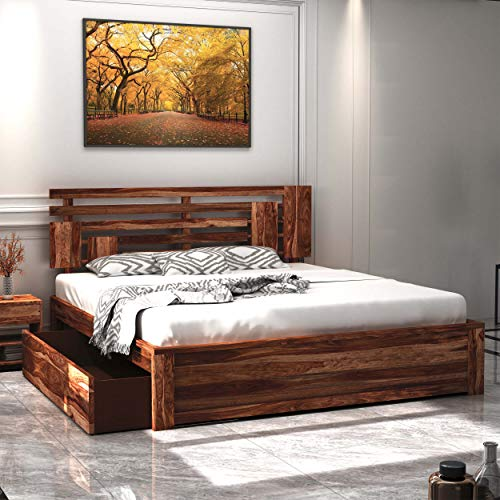 Home Edge Sheesham Wood Aelinia Queen Drawer Storage Bed