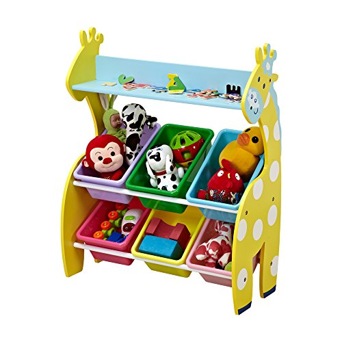 ISUMER Deluxe Kids' Toy Storage Organizer with 6 Plastic Bins, Giraffe Toys Organizer and Storage Bins by ISUMER