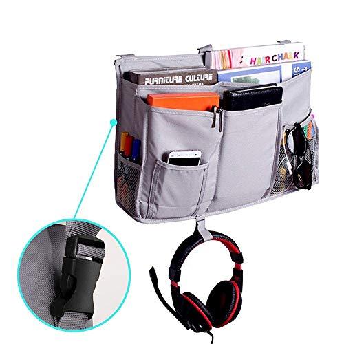 Organizador de mesita de noche mejorado con 3 hebillas POM para colgar para teléfono, revista, accesorio y mando a...