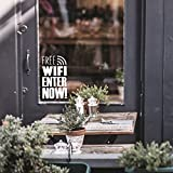 Free WiFi Business Sign - 16'' x 10'' - Decoration Vinyl Stickers - Window Sign Vinyl Decals - Free Wi-Fi Vinyl Sticker for Businesses Coffee Shops and Restaurants