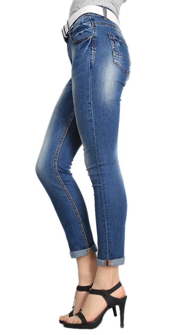 Women's Juniors Distressed Slim Fit Stretchy Skinny Denim Jeans with Belt 5