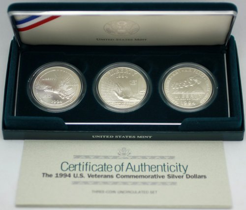 1994 U.S. Veterans 3-Coin Uncirculated Commemorative Silver Dollar Set