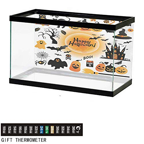 wwwhsl Aquarium Background,Halloween,All Hallows Day Objects Haunted House Owl and Trick or Treat Candy Black Cat,Orange Black Fish Tank Backdrop 72