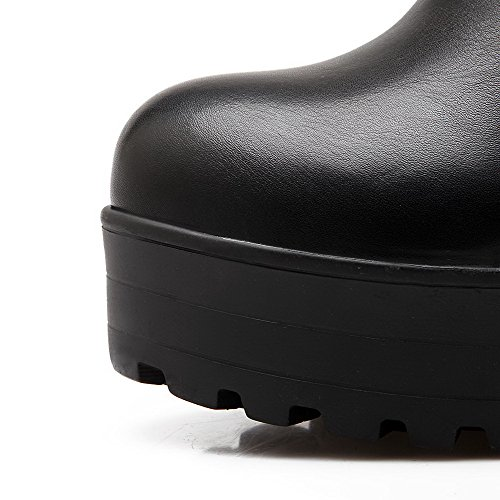 High Material Solid Boots Black High Allhqfashion Soft Women's Round Closed top Toe Heels a0nvwOIvPx