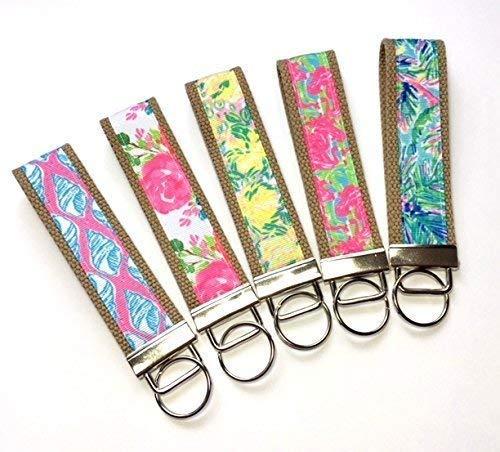 Lilly Pulitzer Inspired Key Fob Mini or Wristlet Keychain Khaki