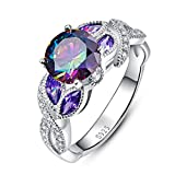 Jrose 925 Sterling Silver Created Rainbow and Amethyst Topaz Promise Ring for Women