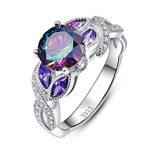 Jrose 925 Sterling Silver Created Rainbow and Amethyst Topaz Promise Ring for (Blue Topaz Purple Ring)