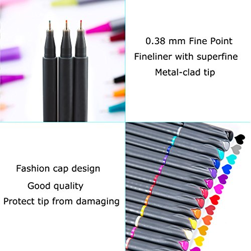 SHOPUS | Fineliner Pens, iBayam 24 Colors Fine Tip Colored Writing ...