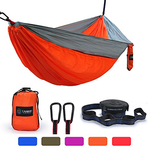 TANMIT Double Camping Hammock, Lightweight Nylon Portable Parachute Hammock for Backpacking, Camping, Travel, Beach, Yard. 118(L) x 78(W)- Included Carabiners and Tree Straps