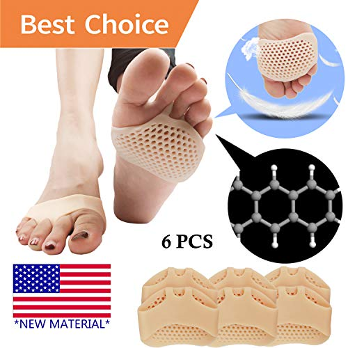 Pnrskter Metatarsal Pads, Ball of Foot Cushion (6 PCS) *New Material* Forefoot Pads, Breathable & Soft Gel, Best for Diabetic Feet, Callus, Blisters, Forefoot Pain. (Nude) price tips cheap