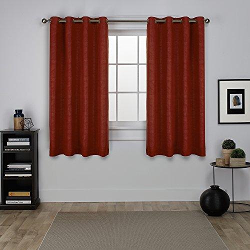 Exclusive Home Curtains Oxford Textured Sateen Thermal Room Darkening Grommet Top Window Curtain Panel Pair, Mecca Orange, 52x63