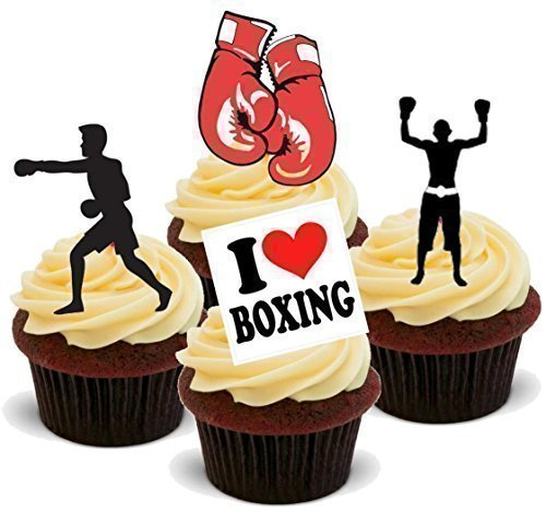 Price comparison product image Baking Bling Novelty Boxing Mix - Birthday / Sport / Special Occasion Standups 12 Edible Standup Premium Wafer Cake Toppers
