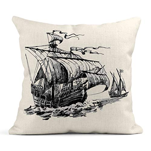 Emvency Decor Flax Throw Pillow Covers Case Brown Adventure Stories Pirate Old Sailboat Caravel Vintage Illustrator10 Board 16