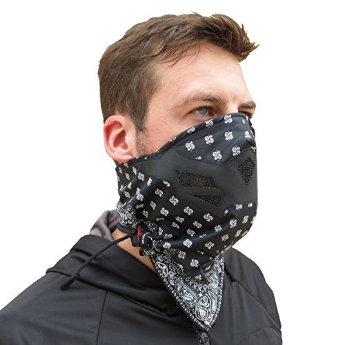 Half Face Mask for Cold Winter Weather. Use this Half Balaclava for Snowboarding, Ski, Motorcycle. (Many Colors)(Bandana- BW) ()