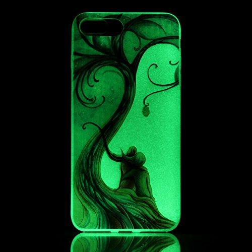 Coque Etui iPhone 7 / 8 Plus , Leiai Nuit romantique Silicone Gel Case Avant et Arrière Intégral Full Protection Cover Transparent TPU Housse Anti-rayures pour Apple iPhone 7 / 8 Plus