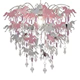 Unicorn Chandelier Children Bedroom Lamp Shade for Girls Nursery Decoration Pink Purple Silver with Shiny Penda