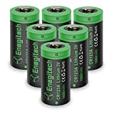 #5: CR123A 3V Lithium Battery, Enegitech 6Pack CR123A Batteries 1600mAh Non-Rechargeable with PTC Protection for Arlo Camera VMS3230 (Old Version), Flashlight Camera