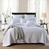 100% Cotton 3- Piece Roundel Flowers White Bedspread Comforter Set King