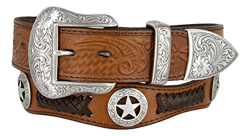 Mens Western Ranger Star Badge Concho Braided Genuine Leather Cowboy Belt (38, Brown) (Ranger Belt Buckle)