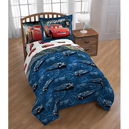 5 Piece Kids Blue Red Lightning McQueen Comforter Twin/Full Set, Racing Cars Bedding Disney Car Themed Racecar Sport Driving Movie Pattern, Reversible Polyester by CA