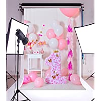 Laeacco Vinyl 5x7ft Photography Background Sweet Pink and White Balloons First Birthday Decorations One Year Old Girls Kids Baby Newborn Photo Backdrops Portraits Shooting Video Studio