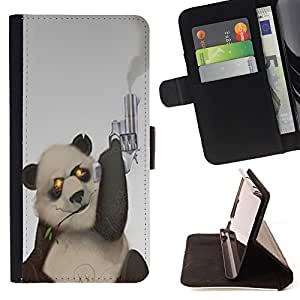 - Panda Cute Bear Animal - - Premium PU Leather Wallet Case with Card Slots, Cash Compartment and Detachable Wrist Strap FOR Samsung Galaxy S4 IV I9500 i9508 i959 King case