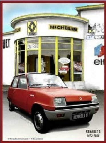 FRANZOSICH VINTAGE METALL BLECHSCHILD 20X15cm RETRO WERBUNG RENAULT 5 GARAGE MICHEL ELF AUTO