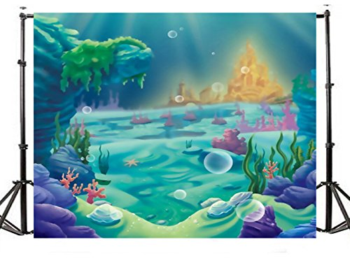 TMOTN 7x5ft Under The Sea Little Mermaid Photography Backdrop Ocean Nautical Birthday Party Banner photo studio booth background newborn baby shower photocall -