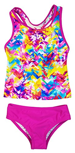 Speedo Girls Racerback Swimsuit Two Piece Tankini Swimsuit (5, Pink Shatter)