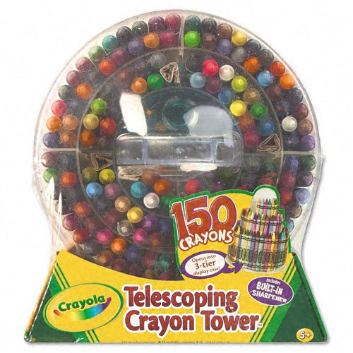 Crayola Products - Crayola - Telescoping Crayon Tower, Wax, 150 Colors/Pack - Sold As 1 Each - Largest set of Crayola crayon colors ever. - Convenient, telescoping tower. - Includes built in sharpener.