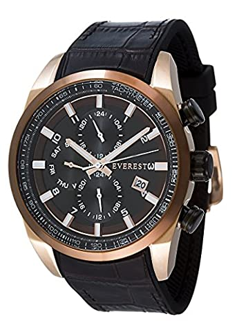 Everest Men's ES30135 Analog Multi Function Dual Time Watch - Rose Gold Tone - Brown Bezel - Brown - Everest Rose