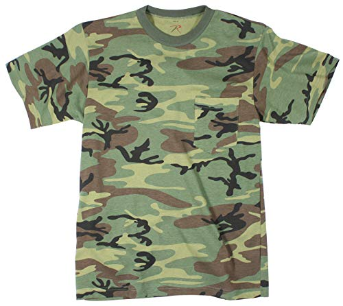 Woodland Cotton Camo T-shirt Army (Rothco Pocket T-Shirt, Woodland Camo, XX-Large)
