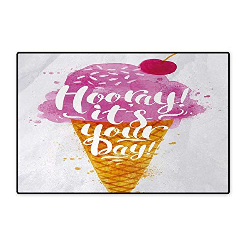 Ice Cream,Doormat,Hooray! Its Your Day Phrase with Ice Cream Cone Cherry Flavor Print,Bath Mats Carpet,Fuchsia Amber Pearl 16
